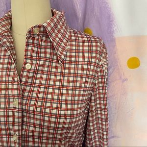 VINTAGE 70s Red Grid Plaid Dagger Collar Button Up